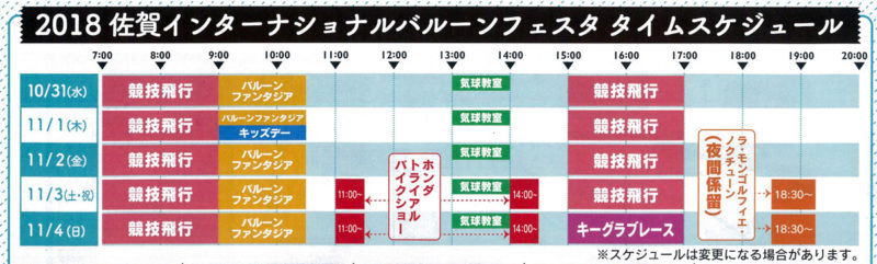 佐賀インターナショナルバルーンフェスタ2018タイムスケジュール