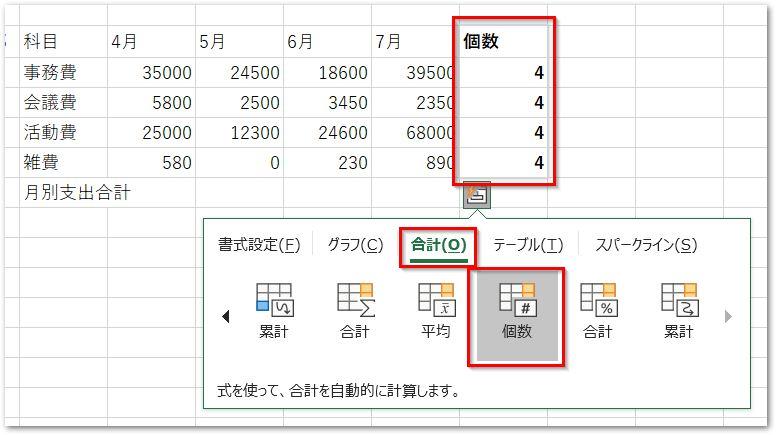 クイック分析ツールの合計タブ行の個数