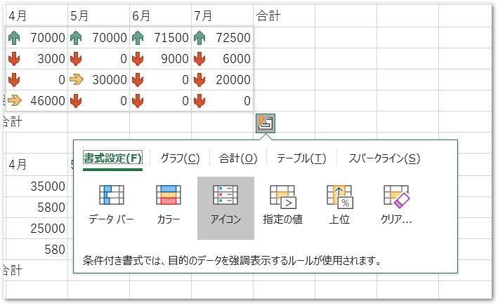 クイック分析ツールのアイコン