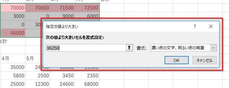 クイック分析ツールの指定の値オプションメニュー