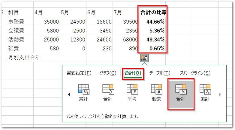 クイック分析ツールの合計タブ行の合計(比率)