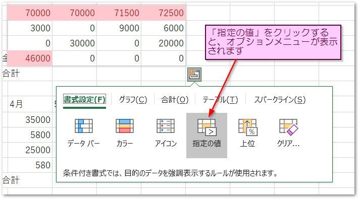 クイック分析ツールの指定の値