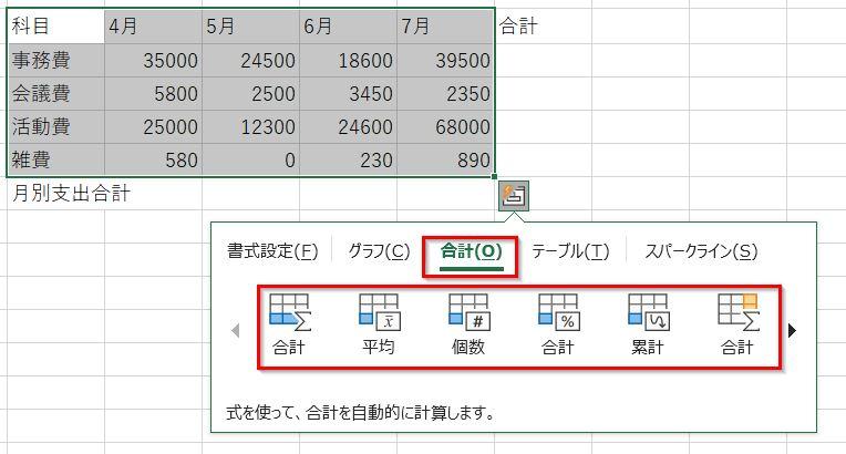 クイック分析ツールの合計タブ