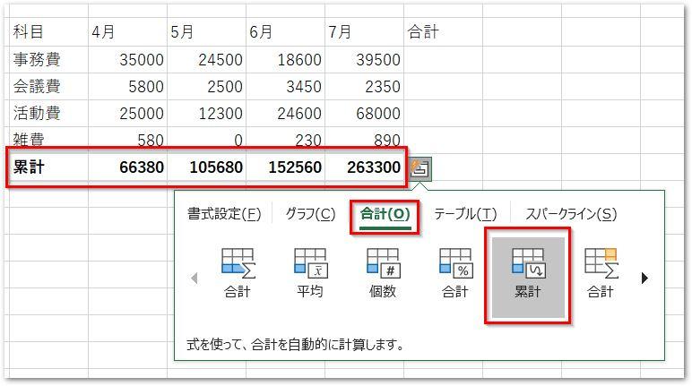クイック分析ツールの合計タブ累計
